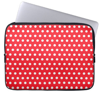 Red and White Polka Dot Pattern. Spotty. Laptop Sleeve
