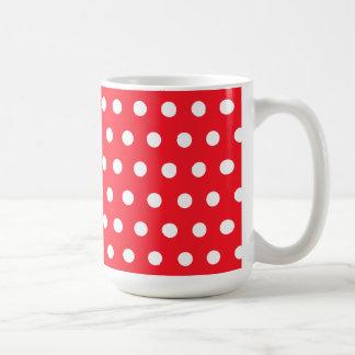 Red and White Polka Dot Pattern. Spotty. Mugs