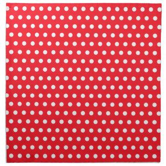 Red and White Polka Dot Pattern. Spotty. Printed Napkin