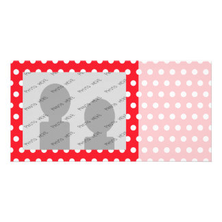 Red and White Polka Dot Pattern. Spotty. Photo Card