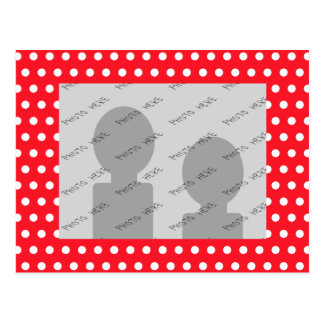 Red and White Polka Dot Pattern. Spotty. Postcard