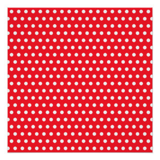 Red and White Polka Dot Pattern. Spotty. Poster