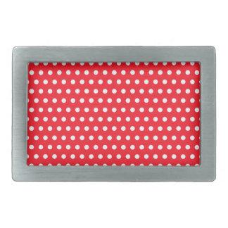 Red and White Polka Dot Pattern. Spotty. Rectangular Belt Buckle