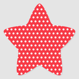 Red and White Polka Dot Pattern. Spotty. Star Sticker