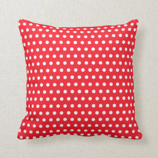 Red and White Polka Dot Pattern. Spotty. Throw Pillow