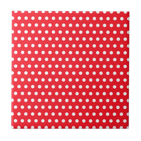 Red and White Polka Dot Pattern. Spotty. Tile