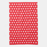 Red and White Polka Dot Pattern. Spotty. Towel
