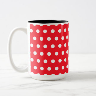 Red and White Polka Dot Pattern. Spotty. Two-Tone Coffee Mug