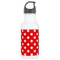 Red and White Polka Dot Pattern Water Bottle