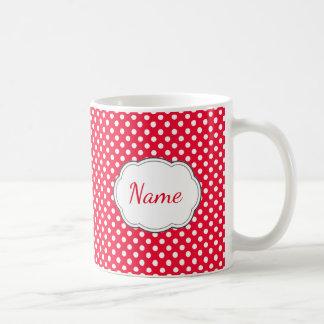 Red and White Polka Dot Personalized Mug