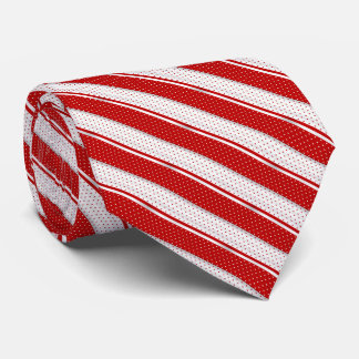 Red and White Polka Dot Stripes Tie