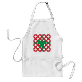 Red and White Polka Dot XMAS Adult Apron