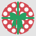Red and White Polka Dot XMAS Stickers