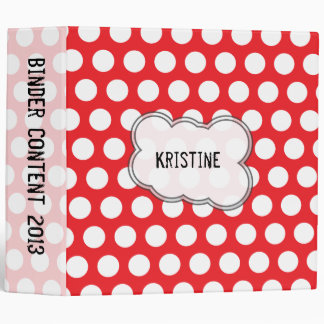 Red and white polka dots binder