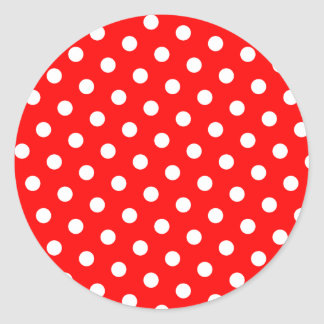 Red and White Polka Dots Classic Round Sticker