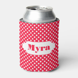 Red and white polka dots custom can cooler
