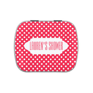 Red and white polka dots custom candy tin