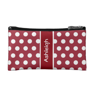 Red and White Polka Dots Custom Gift Item A03 Makeup Bag
