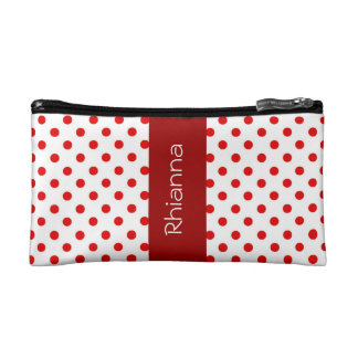 Red and White Polka Dots Custom Gift Item P034 Cosmetics Bags
