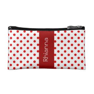 Red and White Polka Dots Custom Gift Item P034 Makeup Bag