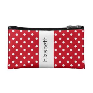 Red and White Polka Dots Custom Name Gift P034E Cosmetic Bag