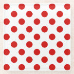 "Red and white polka dots glass coaster<br><div class=""desc"">Red and white polka dots</div>"