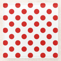 Red and white polka dots glass coaster
