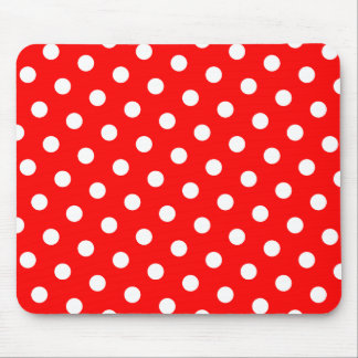 Red and White Polka Dots Mousepads