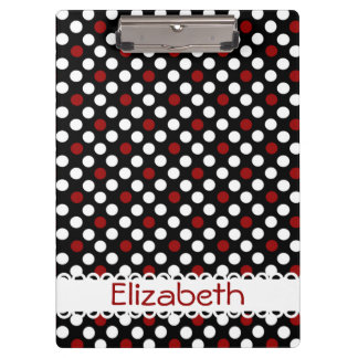 Red and White Polka Dots on Black Personalized Clipboard