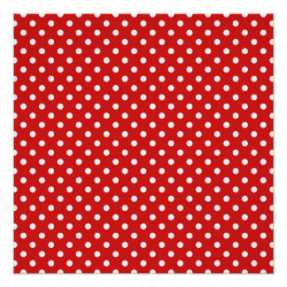Red and White Polka Dots Pattern Poster