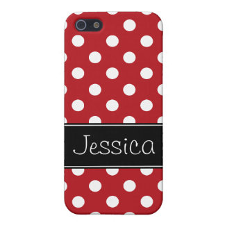 Red and White Polka Dots Personalized iPhone 5/5S Covers