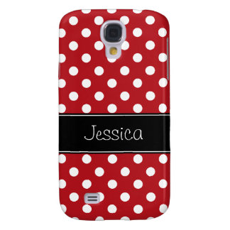 Red and White Polka Dots Personalized Samsung Galaxy S4 Cover