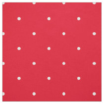 Red And White Polka Dots Small Pretty Pattern Fabric