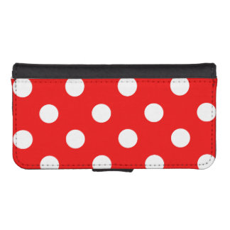 Red and white polka dots wallet phone case for iPhone SE/5/5s
