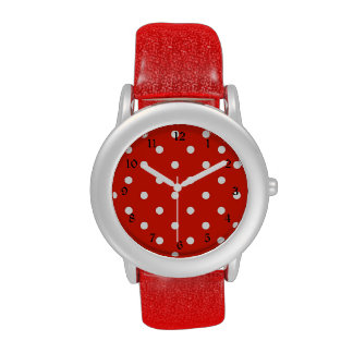 Red and White Polka Dots Watches