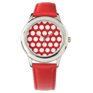 Red and White Polka Dots Wrist Watch