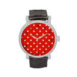 Red and White Polka Dots Wrist Watches