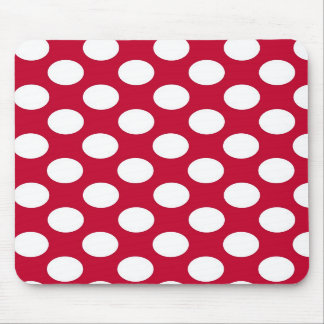 Red and White Polkadots Mousepad