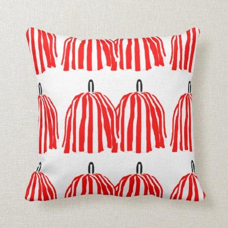 Red and White Pom Pom Throw Pillow