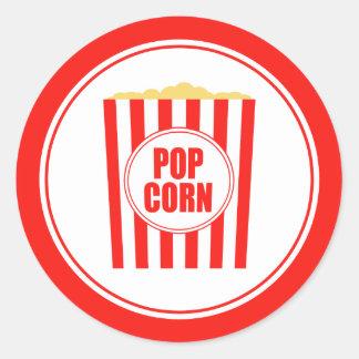 Red And White Popcorn Classic Round Sticker