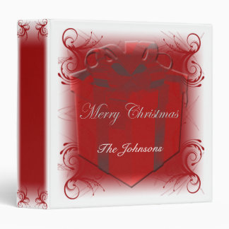 Red and White Present Swirl Christmas Album 3 Ring Binder