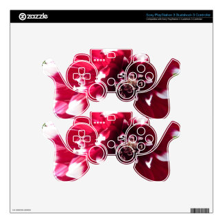 Red and white PS3 controller decals