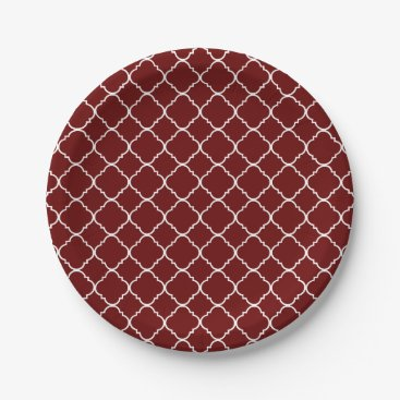 Christmas Themed Red and White Quatrefoil Paper Plate