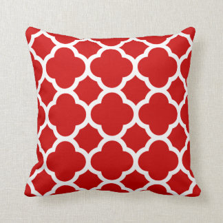 Red and White Quatrefoil Pattern Pillow
