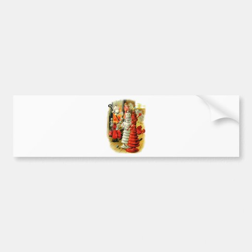 RED AND WHITE QUEEN IN WONDERLAND BUMPER STICKERS