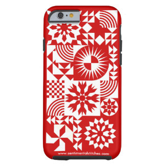 Red and White Quilt iPhone 6 - Red Border Tough iPhone 6 Case
