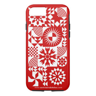 Red and White Quilt iPhone 7 - Red Border iPhone 7 Case