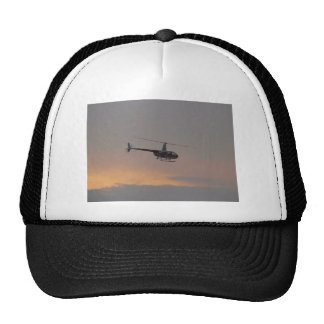 Red and white R44 at sunset. Trucker Hats