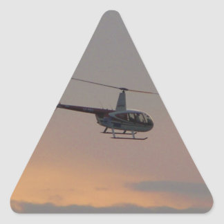 Red and white R44 at sunset. Triangle Sticker