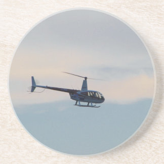 Red and White R44 Helicopter Sandstone Coaster
